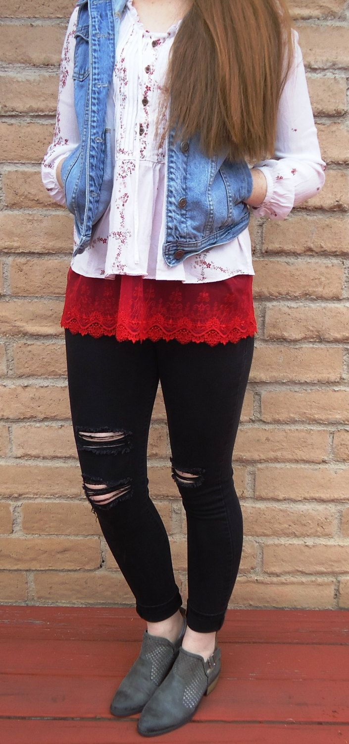 Wholesale lace shirt extender - Shirt Extender Red Lace Shirt Extender By Slipnstyle On Etsy