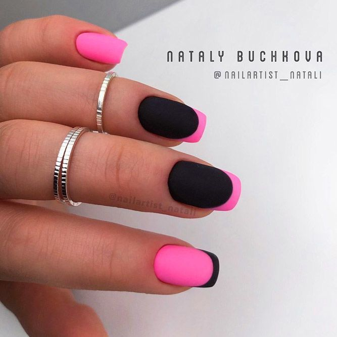 20 Outstanding Matte Pink Nails Designs In 2020 Pink Black Nails Matte Pink Nails Pink Nail Designs