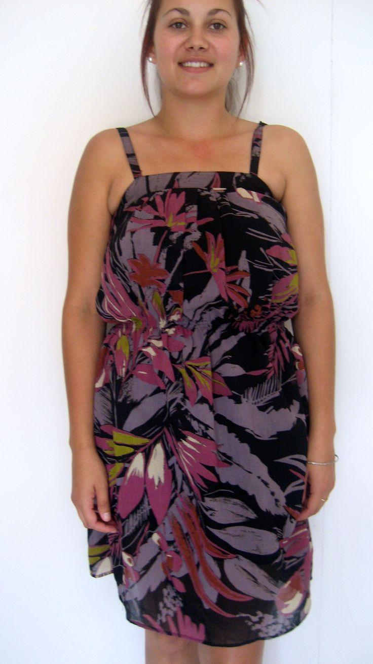 Summer fun loving vintage purple + black dress with floral print.