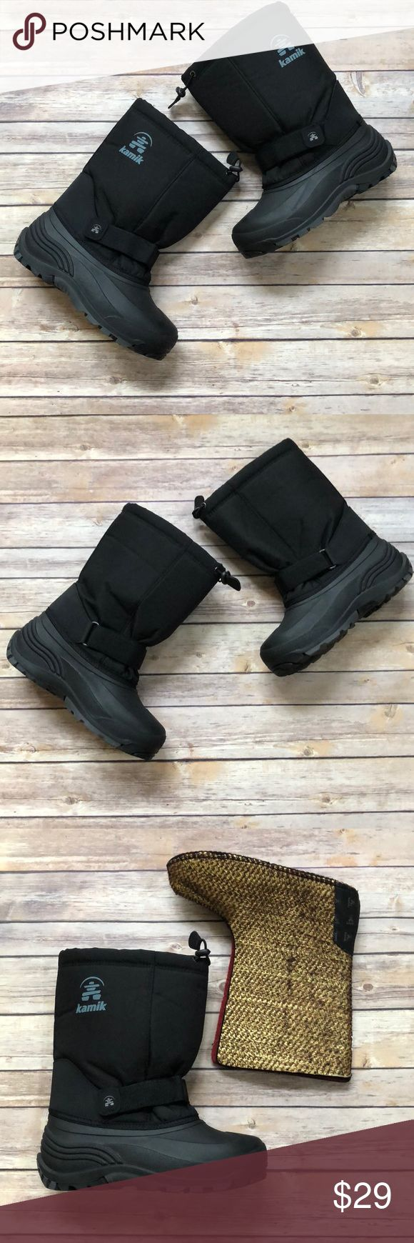Boys Kamik Winter Boots size 6 EUC!  Worn only a count of times.  Big boys/youth size 6.  Removable liners.  Velcro closure ankle strap. Kamik Shoes Rain & Snow Boots