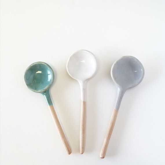 Ceramic Spoon trio of small spoon serving Home Decor Handmade  salt sugar spoon collection