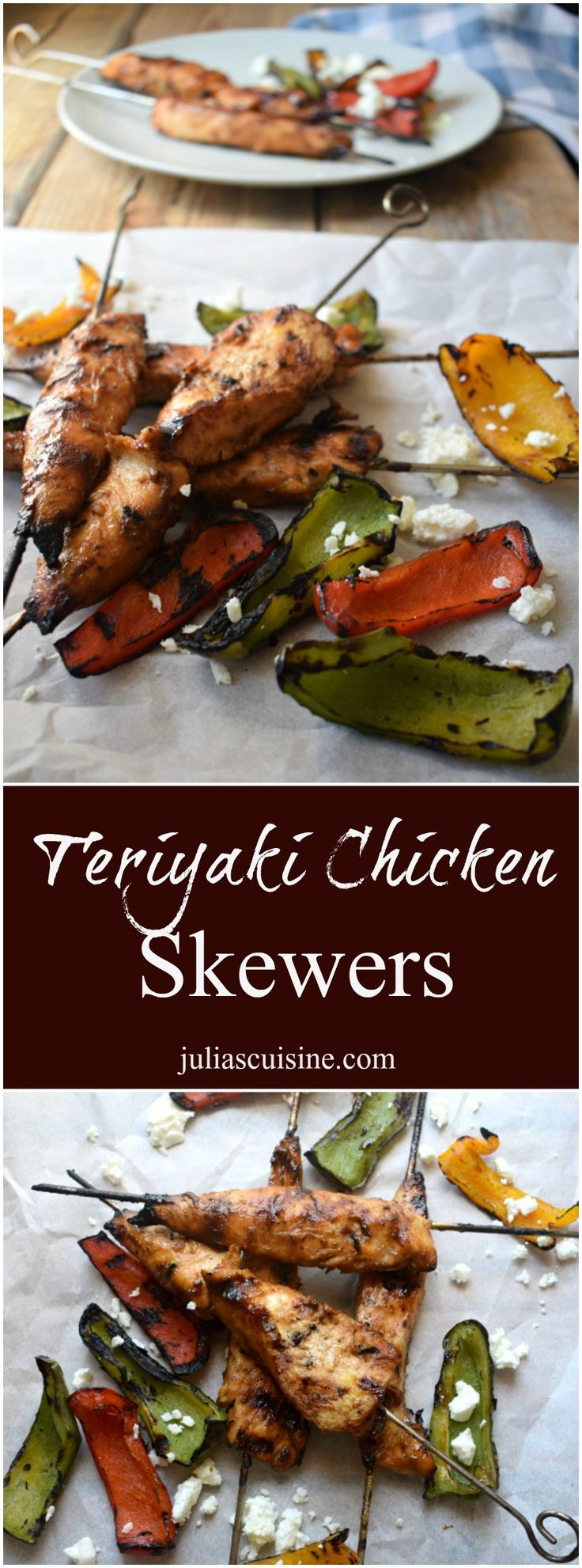 Teriyaki Chicken Skewers are perfect for any summer time backyard barbecue!  http://www.juliascuisine.com/home/teriyaki-chicken-skewers-charred-pepper-salad