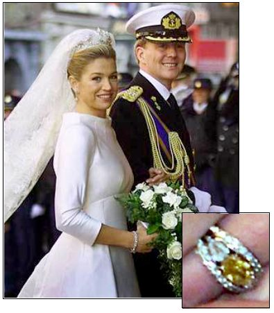 PRINCESS MAXIMA, originally from Argentina, married Prince Willem-Alexander of the Netherlands in 2002. She received a very unique engagement ring – an orange oval shaped diamond flanked by two tear-drop shaped diamonds and set in two diamond encrusted bands.