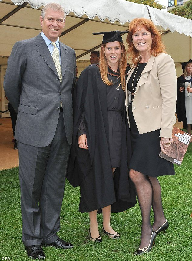 Family pride...Princess Beatrice celebrates her graduation with parents Prince Andrew and Sarah Ferguson at Goldsmiths College in London in 2011