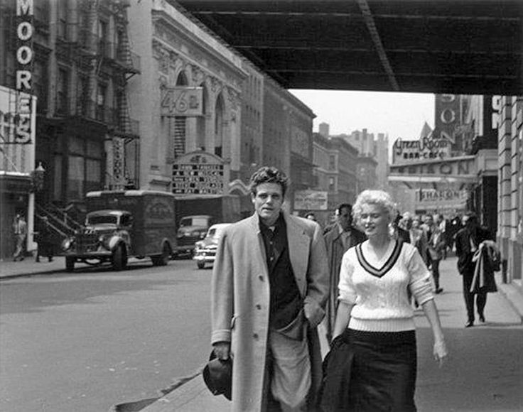 roy schatt marilyn monroe and jack lord take a stroll up th  roy schatt marilyn monroe and jack lord take a stroll up 46th street towards broadway nyc 1955 old times square nyc handsome