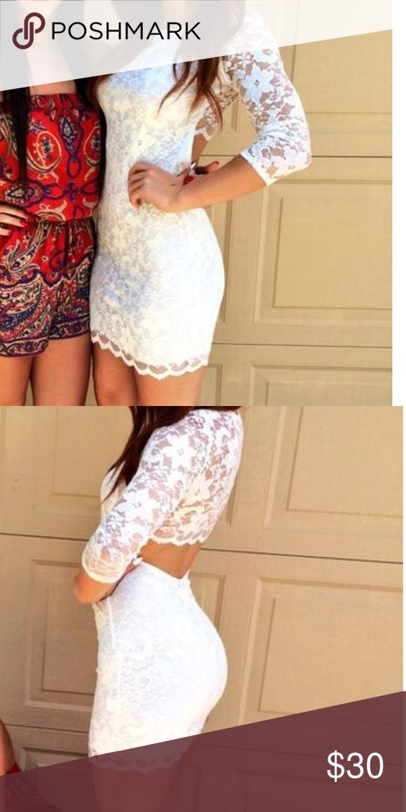 White lace bodycon dress Wore it for high school graduation, super cute lace open back white bodycon dress. Fits to size Dresses Long Sleeve