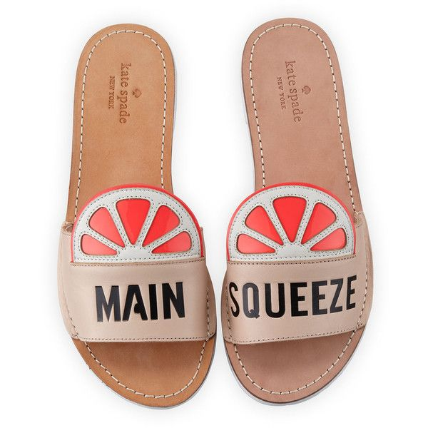 """kate spade new york izella """"main squeeze"""" slide sandal found on Polyvore featuring shoes, sandals, flats, pale pink, kate spade flats, patent leather shoes, patent leather flats, patent flats and slide sandals"""