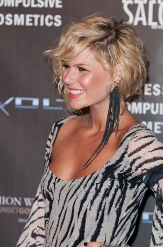 Curly Layered Bob Hairstyle With Side Bangs Inverted Bob
