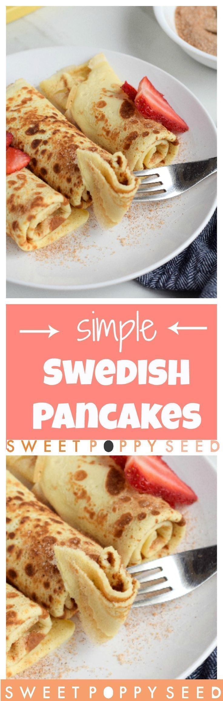 5 ingredients is all you need to make thin delicious crowd-pleasing Swedish Pancakes! Perfect for kids and adults! #buttermilkpancakesrecipedinners #buttermilkpancakesrecipekids
