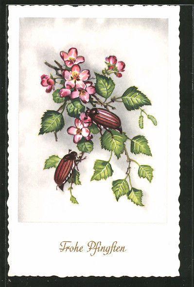 alte AK Frohe Pfingsten, Maikäfer auf Blättern mit schönen Blumen