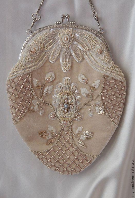 Купить Сумка из бархата с вышивкой. - бежевый, орнамент, сумочка с фермуаром, сумочка вечерняя, свадебные аксессуары