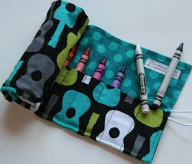 The Traveling Tot: Sewing Tutorial : Crayon Roll w/ Button and Elastic (Crayon Caddy)