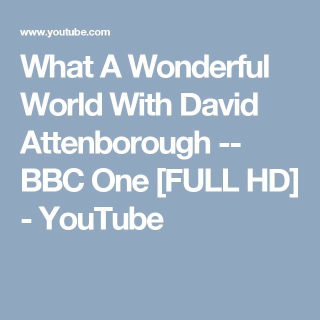 What A Wonderful World With David Attenborough -- BBC One [FULL HD] - YouTube