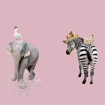 Úplet Animal farm pink panel digital print
