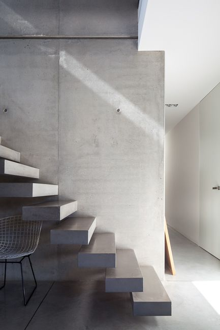 Concrete staircase with floating steps.