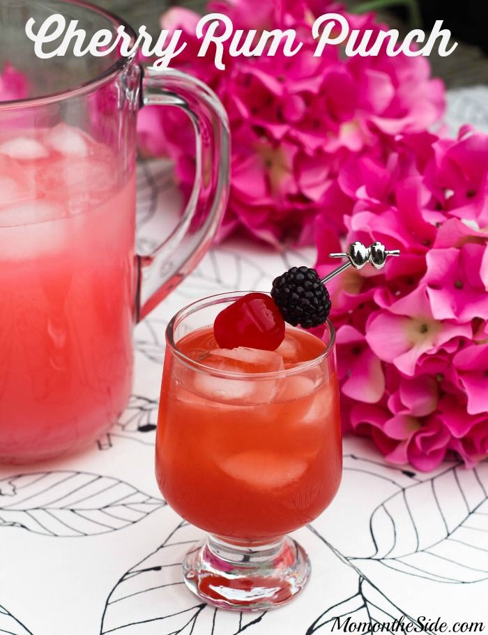 Looking for an adult cocktail? Try this Cherry Rum Punch with Kraken Black Spiced Rum and Pink Lemonade