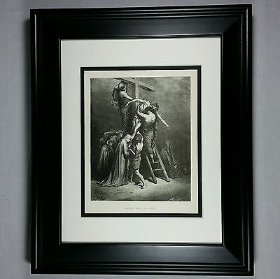 1890 Descent From the Cross by Gustave Dore - Antique Engraving Framed Art Print