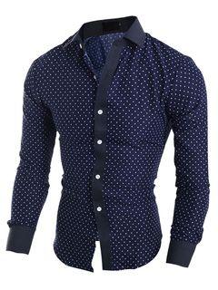 Camisas casuales de algodón mezclado con escote drapeado manga larga de moda