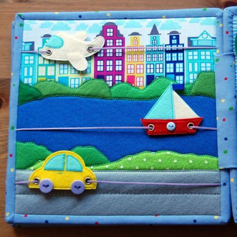 fantastic quiet or busy book page idea with aroplane, boat and car