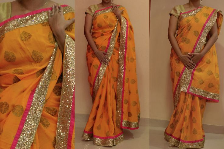 DMG - 106 Description: Yellow mugga silk with god buttis with sprinkled sequins and pink raw silk border blouse: gold brocade Price: WAS 6600/- NOW: RS. 5400