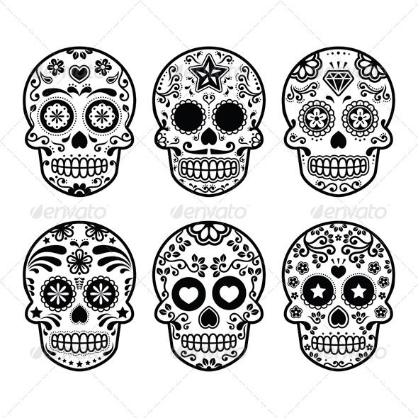 Mexican Sugar Skull Set - Patterns Decorative