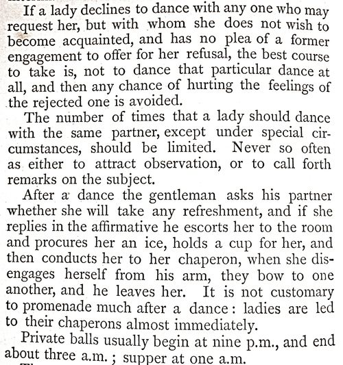 """Etiquette. Balls begin at 9PM, dinner at 1AM and end at 3AM!!!! No wonder they """"slept away the day""""!!"""