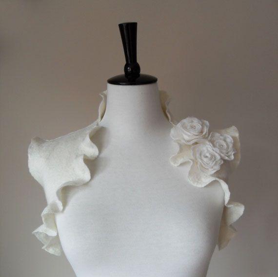 Bridal Shrugs Boleros Ivory Wedding Bolero Jacket by softadditions
