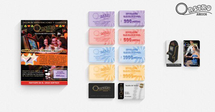 Identidad corporativa para Salon de Juegos. (Se compone de flyers, tarjetas de puntos, socios y visita).