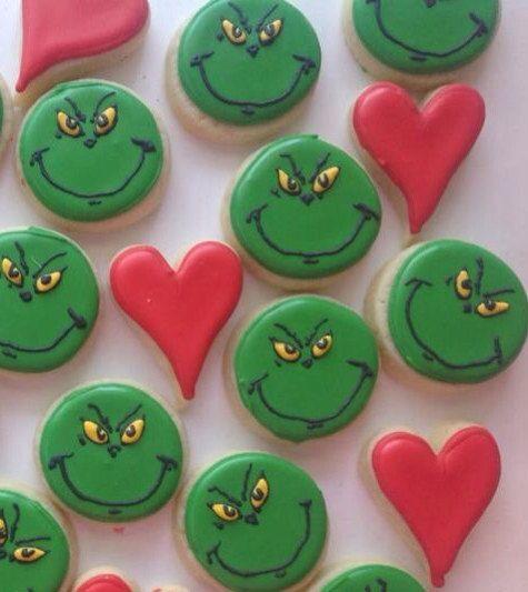 3 dozen Mini Grinch cookies on Etsy, $24.00