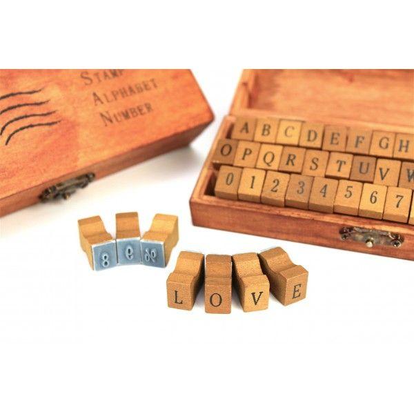 Buchstabenstempel - Alphabet - Groß - Holzbox