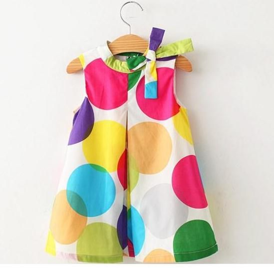 Hot New Summer Lovely Girls Dress Kids Wear Wave Bow Dot Colorful Leisure Fashion Dresses Children Clothing