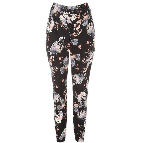 Womens Floral Print Crepe Trousers ($18) ❤ liked on Polyvore featuring pants, flower print pants, crepe pants, slim leg pants, floral print trousers and floral pants