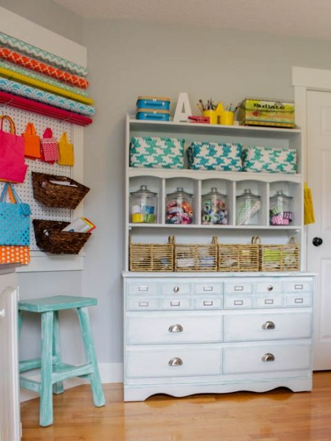 You will love these super creative, thrifty, and small space craft room organization ideas and you can use this inspiration to tackle the organizing your own creative workspace.