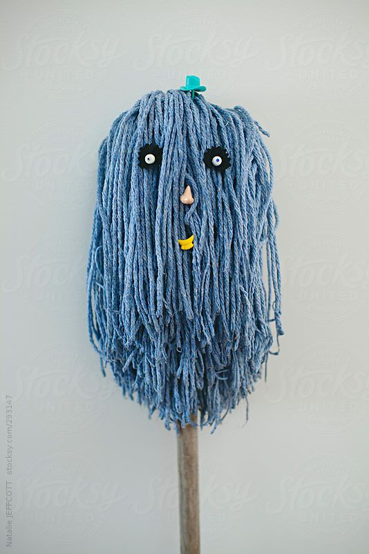 character / faces created using cleaning items mop and broom by nataliejeffcott   Stocksy United