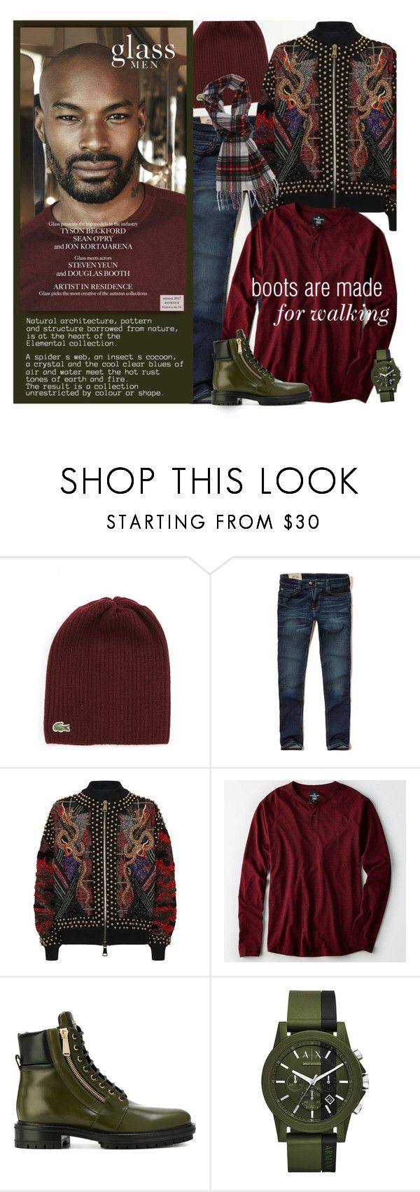 """Contest: Boots are made for walking"" by xiandrina ❤ liked on Polyvore featuring Lacoste, Hollister Co., Balmain, American Eagle Outfitters, Armani Exchange, Barbour, men's fashion and menswear"