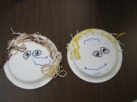 Hand prints in people color that the children choose. People collage I cut out little pants out of my kids old jeans. Paper plate faces Bod...