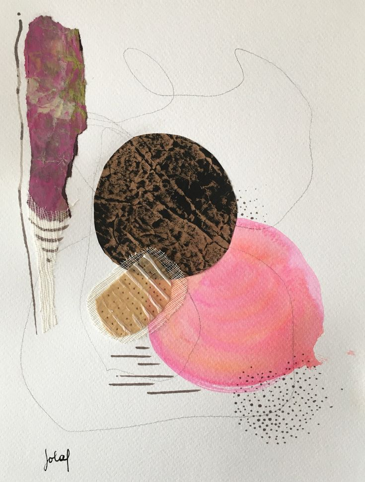 Abstract painting with circles, acrylic collage, graphite