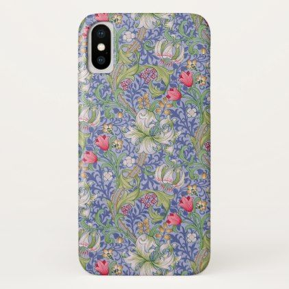 William Morris Vintage Lily Blue Background iPhone X Case - patterns pattern special unique design gift idea diy