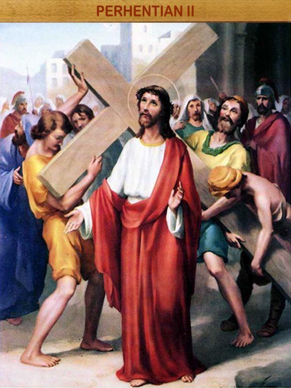 """YESUS MEMANGGUL SALIB : """"Setiap orang yang mau mengikut Aku, ia harus menyangkal dirinya, memikul salibnya setiap hari dan mengikut Aku """" (Luk:9:23)."""