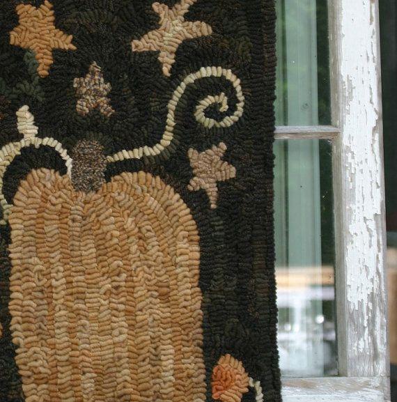Harvest Pumpkin Rug PRIMITIVE PUMPKIN Hand Hooked Wool Rug Orange  Bittersweet