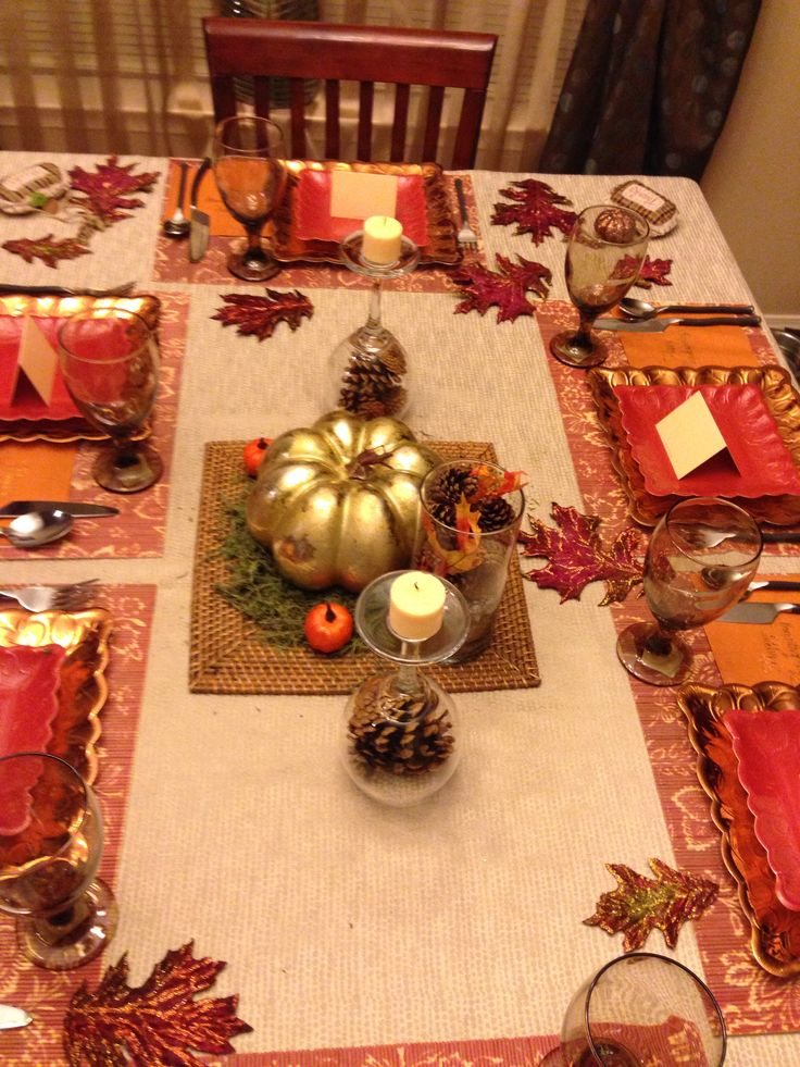 Thanksgiving table. Paper plates from hobby lobby. Wine glass candle holders with pine comes & thanksgiving table setting with paper plates | My Web Value
