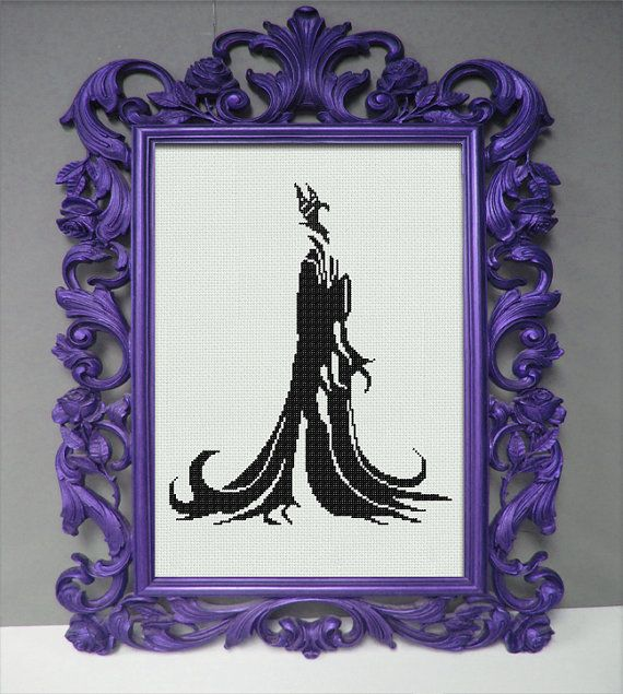 Disney Maleficent Counted Cross Stitch Pattern - Regal Silhouette - Sleeping Beauty Cross Stitch Pattern - Aida Cloth