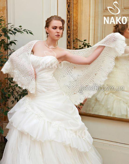 Свадебная ажурная шаль спицами. Описание вязания, схемы