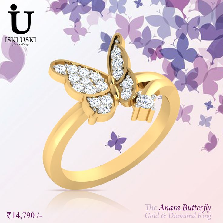 As one of our all time favourites, the 'Anara' Butterfly Ring with diamonds are perfect to wear alone or accompany your vintage style ring.   #DiamondRings #GoldRings #Rings #IskiUski