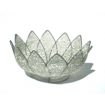 White triangular shaped wire beaded artwork handmade bowl – handcrafted to perfection in Africa.