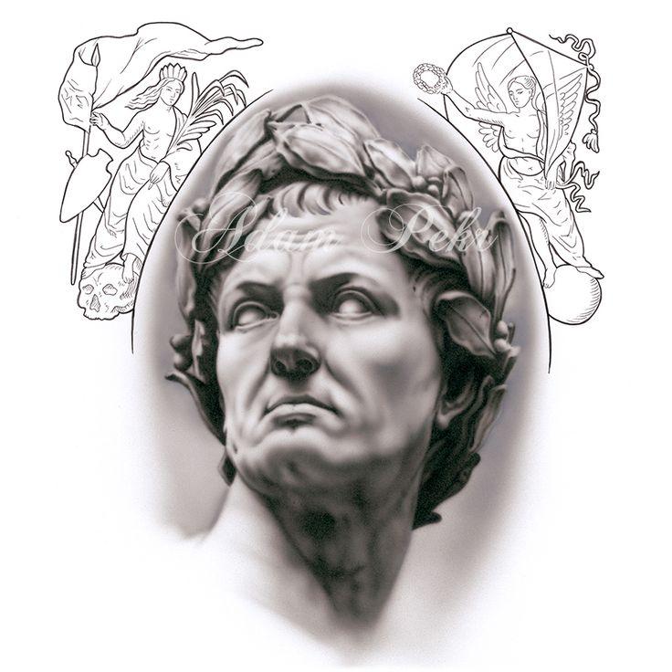 Caesar Black and Grey Airbrush Artwork