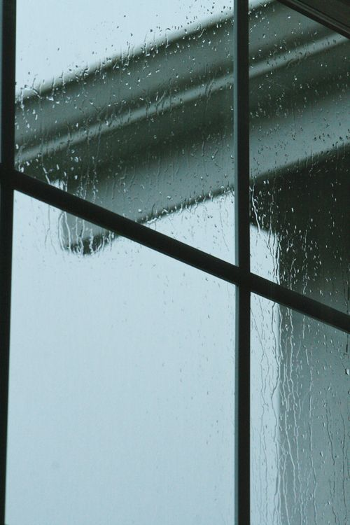The sound of rain on the windows