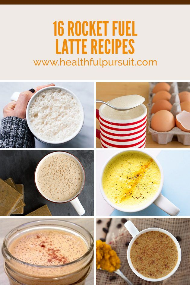 Fuel with Fat! 16 Rocket Fuel Latte Recipes to Supercharge Your Day: white chocolate eggnog latte blocks mocha w/chia seeds turmeric milk ...and other interesting ones!