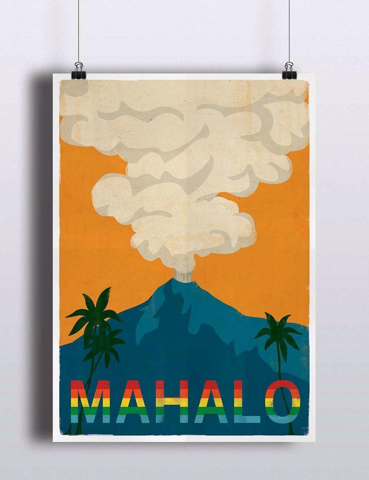 Vintage Hawaii Poster Retro Vintage Hawaiian Art Print Mahalo Volcano Rainbow Travel Poster Illustration Wall Decor Palm Trees by TheBlackVinyl on Etsy https://www.etsy.com/listing/235994236/vintage-hawaii-poster-retro-vintage