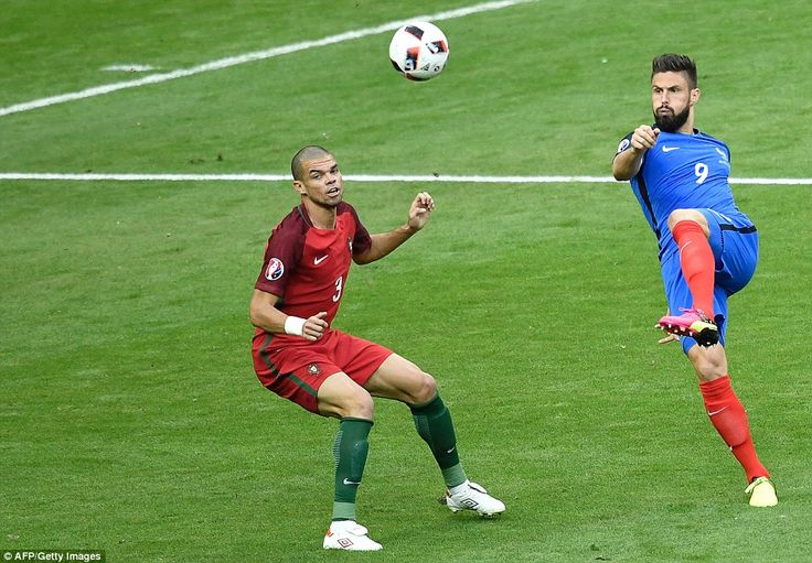 Olivier Giroud flicks the ball past Portugal defender Pepe as the Euro 2016 hosts start the brighter of the two teams